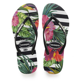 havaianas Slim Tropical Floral Sandaler Damer, black/black/imperial palace